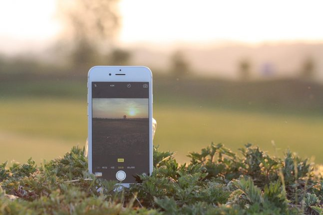 smart phone in field